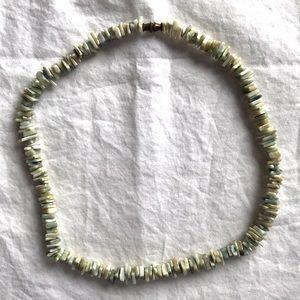 "Vintage Green Puka Shell Necklace/Choker 15"""